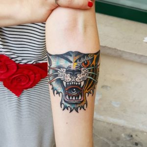 Double Faced Tiger Forearm Tattoo