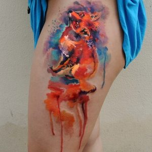 Dripping-Colored Fox Thigh Tattoo
