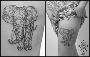 Elephant Front Profile Thigh Tattoo