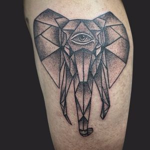 Elephant with All-Seeing Eye Arm Tattoo