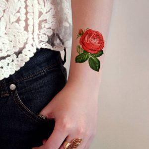 Endearing Red Rose Wrist Tattoo