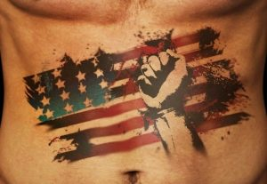 Fight for the Flag Abs Tattoo