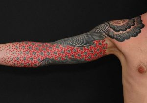 Geometric Red Patterned Sleeve Tattoo