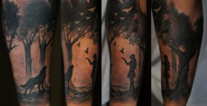 Girl and Wolf in Forest Arm Sleeve Tattoo