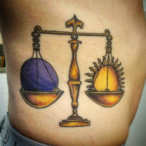 Golden Scale of Sun and Moon Side Tattoo