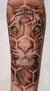 Hive Styled Tiger Forearm Tattoo