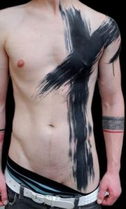 Intersecting Paint Strokes Body Tattoos