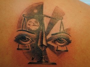 Lady Judgment Scale Shoulder Tattoo