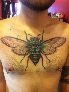 Large Fly Full Chest Tattoo