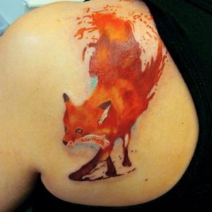 Leaping Fox Shoulder Blade Tattoo