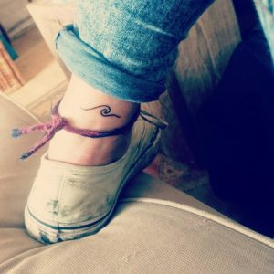Linework Wave Ankle Tattoo