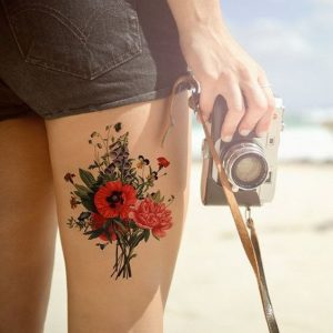 Lovely Floral Bouquet Thigh Tattoo