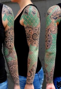 Mandalas with Green Patches Sleeve Tattoo
