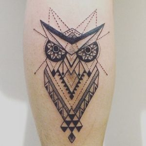 Owl with Triangles Calf Tattoo