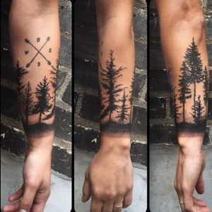 Pine Forest with Directions Forearm Sleeve Tattoo