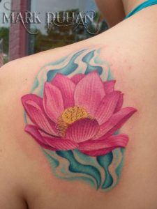 Pink Lotus with Blue Wavy Background Shoulder Tattoo
