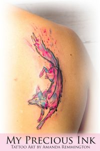 Pink and Blue Fox Back Tattoo