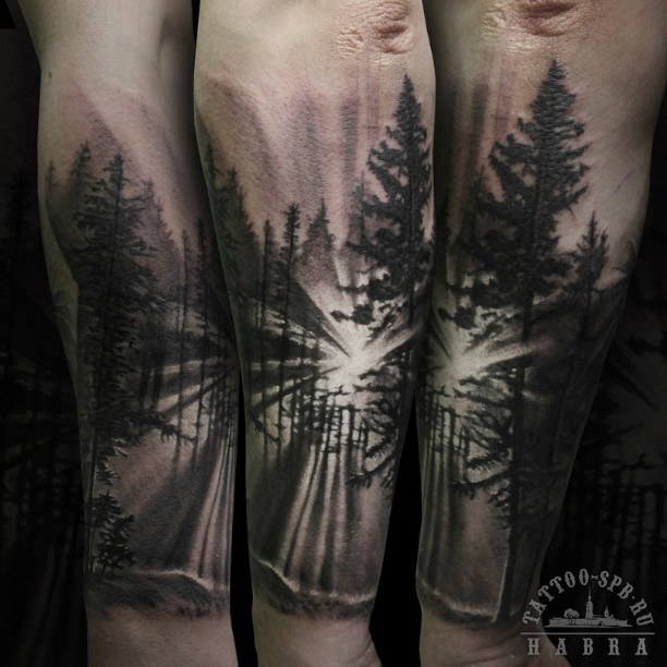 Ray of Light Inside Forest Forearm Sleeve Tattoo