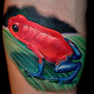 Red Frog Calf Tattoo