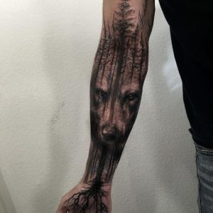 Rooted Tree in a Wolf Forest Full Sleeve Tattoo