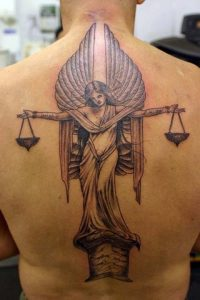Scale with Angel Full Back Tattoo