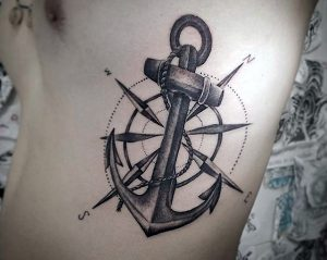 Shaded Anchor on Compass Side Tattoo