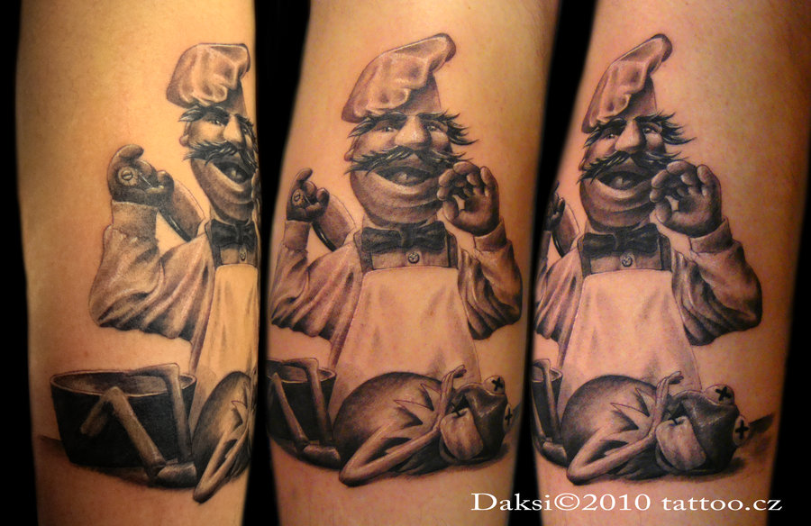 Shaded Chef Cooking Kermit Forearm Tattoo