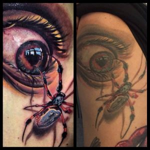 Shaded Spider and Eye Side Tattoo