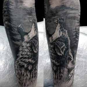 Shaded Wolf Howling in Forest Full Sleeve Tattoo