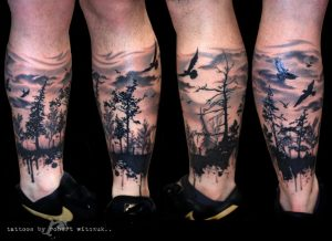 Silhouette Forest with Blue Eagle Leg Sleeve Tattoo