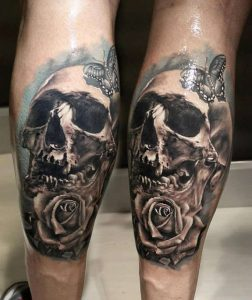 Skull with Rose and Butterfly Calf Tattoo