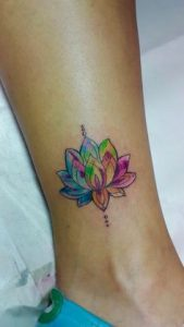 Small Colorful Lotus Ankle Tattoo