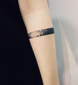 Small Dotwork Forest Armband Tattoo