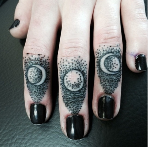 Small Dotwork Moon Phases Finger Tattoos