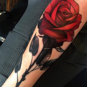Sultry Red Rose Arm Tattoo