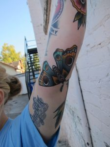 Traditional Moth Tricep Tattoo