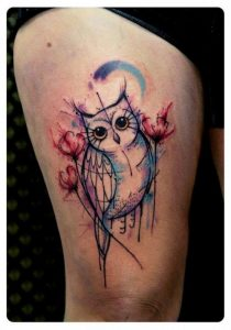 Watercolor Draft Owl Thigh Tattoo
