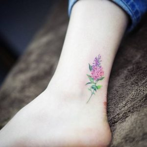 Watercolor Lilac Ankle Tattoo