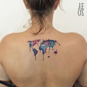 Watercolor Map Back Tattoo