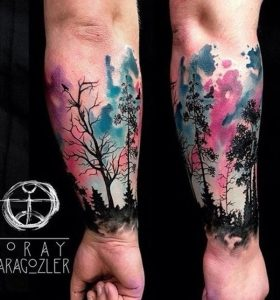 Watercolor Silhouette Forest Forearm Sleeve Tattoo