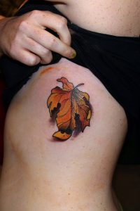 Wilted Maple Side Tattoo