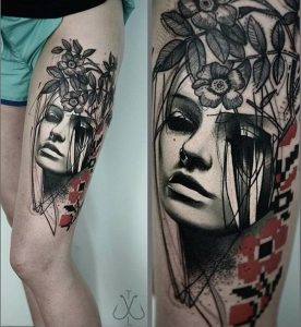 Woman Portrait and Flowers Thigh Tattoo