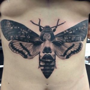 Woman and Moth Underbreast Tattoo