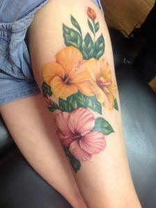 Yellow and Pink Hibiscus Flower Thigh Tattoo