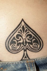 Artistic Ace of Spades Lower Back Tattoo