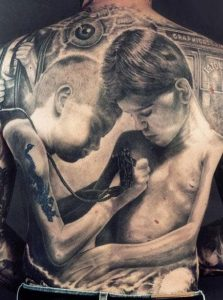 Child Tattooing Another Child Full Back Realism Tattoo
