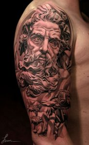 Classical Neptune with Turtle adnd Fishes Half Sleeve Tattoo