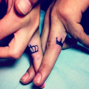 Couple Crown Finger Tattoos