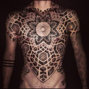 Extensive Sacred Geometry Chest Tattoo