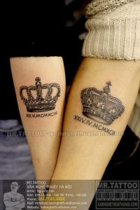 Gorgeous Crown With Roman Numerals Arm Tattoo